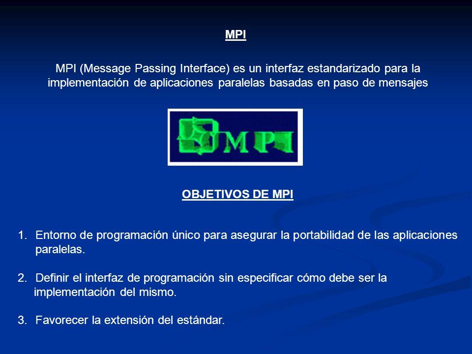 MPIMPI (Message Passing Interface) es un interfaz estandarizado para la implementación de aplicaciones paralelas basadas en paso de mensajes.