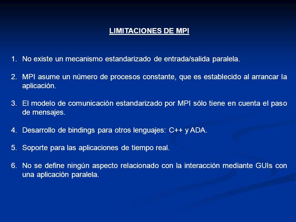 LIMITACIONES DE MPI No existe un mecanismo estandarizado de entrada/salida paralela.