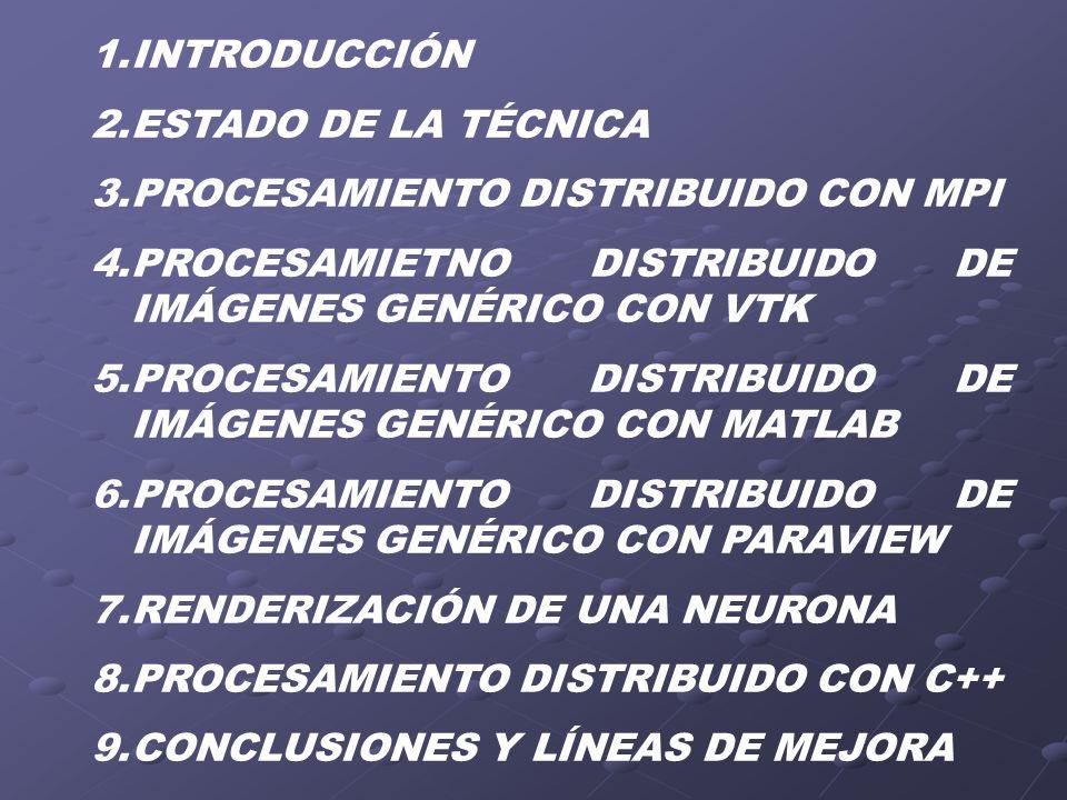 INTRODUCCIÓNESTADO DE LA TÉCNICA. PROCESAMIENTO DISTRIBUIDO CON MPI. PROCESAMIETNO DISTRIBUIDO DE IMÁGENES GENÉRICO CON VTK.
