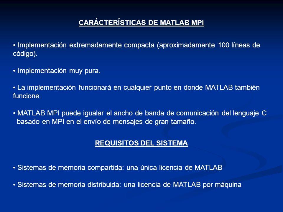 CARÁCTERÍSTICAS DE MATLAB MPI REQUISITOS DEL SISTEMA