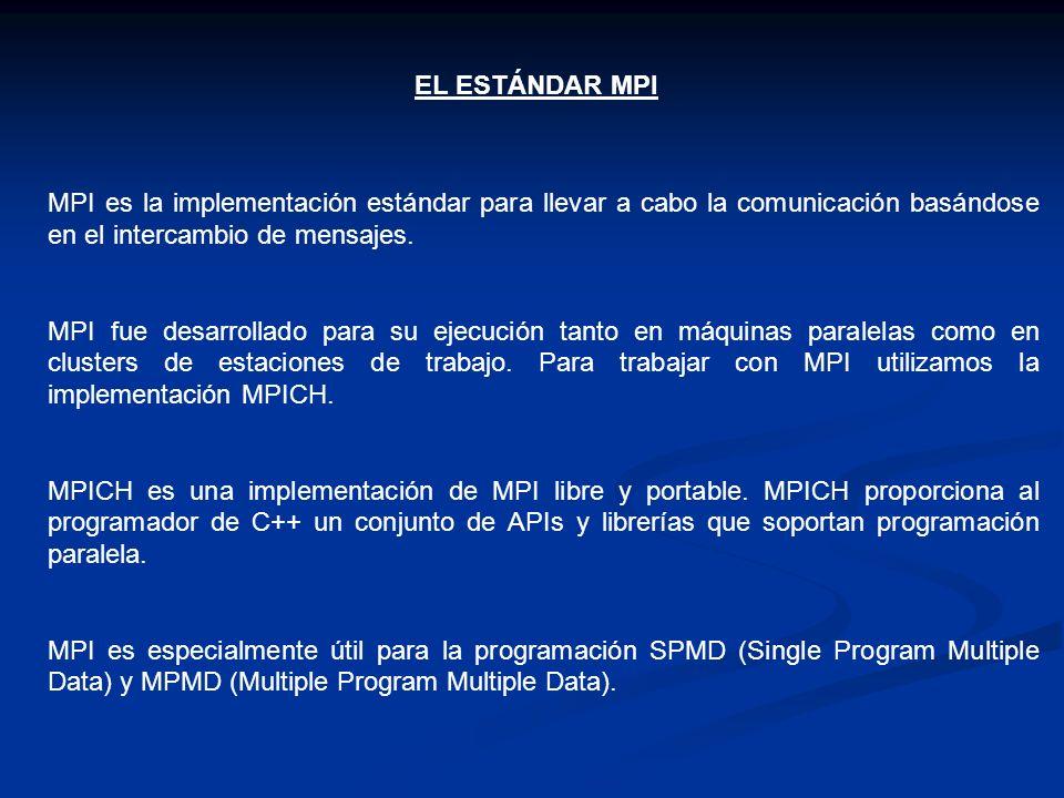 EL ESTÁNDAR MPI MPI es la implementación estándar para llevar a cabo la comunicación basándose en el intercambio de mensajes.