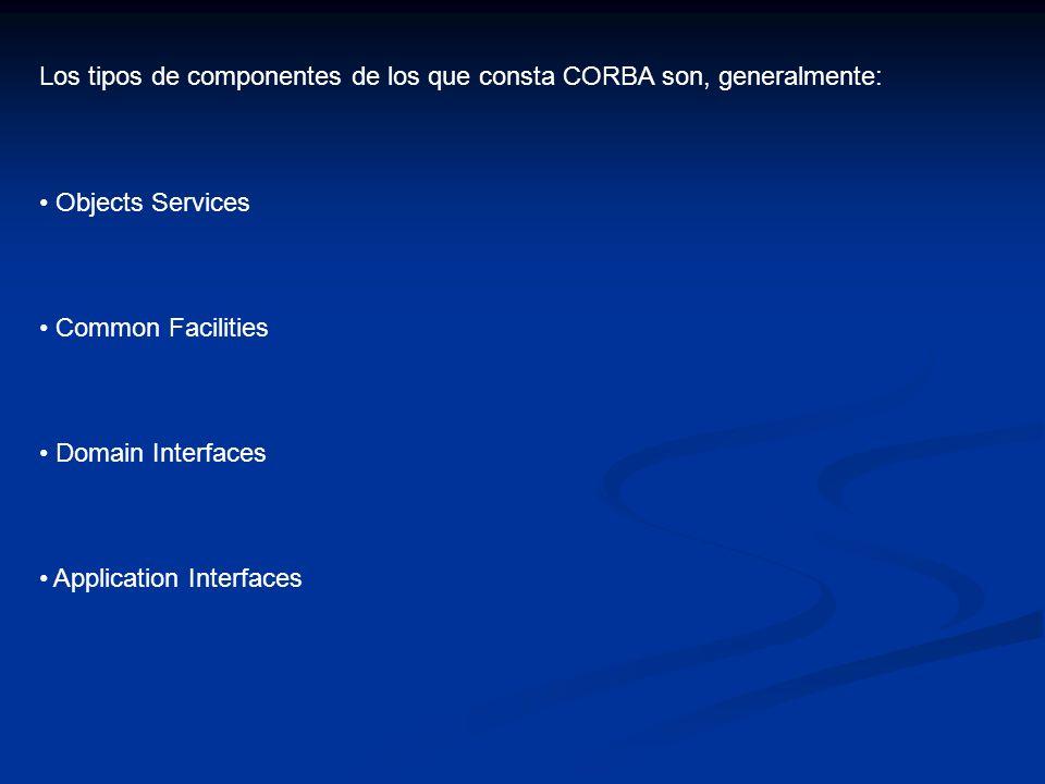 Los tipos de componentes de los que consta CORBA son, generalmente: