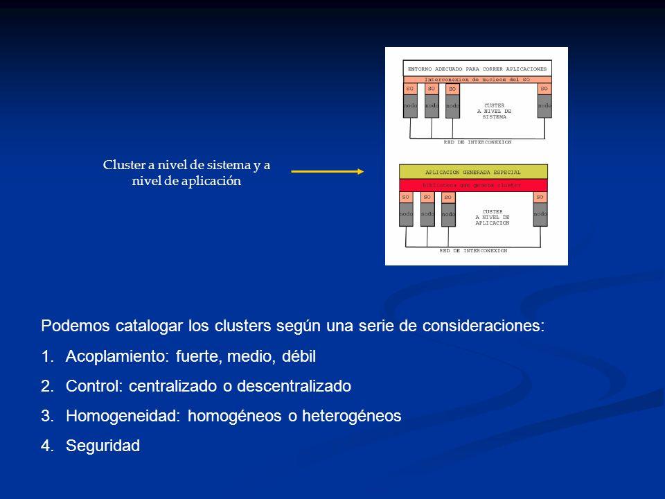 Cluster a nivel de sistema y a nivel de aplicación
