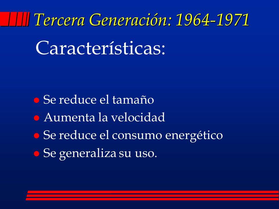 Características: Tercera Generación: 1964-1971 Se reduce el tamaño