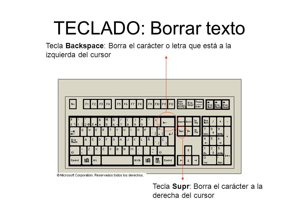 TECLADO: Borrar texto Tecla Backspace: Borra el carácter o letra que está a la. izquierda del cursor.