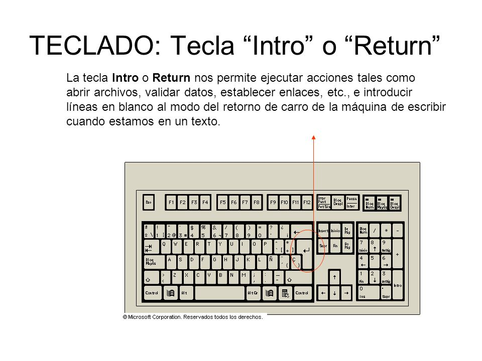 TECLADO: Tecla Intro o Return