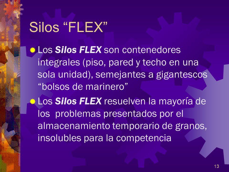 Silos FLEX Los Silos FLEX son contenedores integrales (piso, pared y techo en una sola unidad), semejantes a gigantescos bolsos de marinero