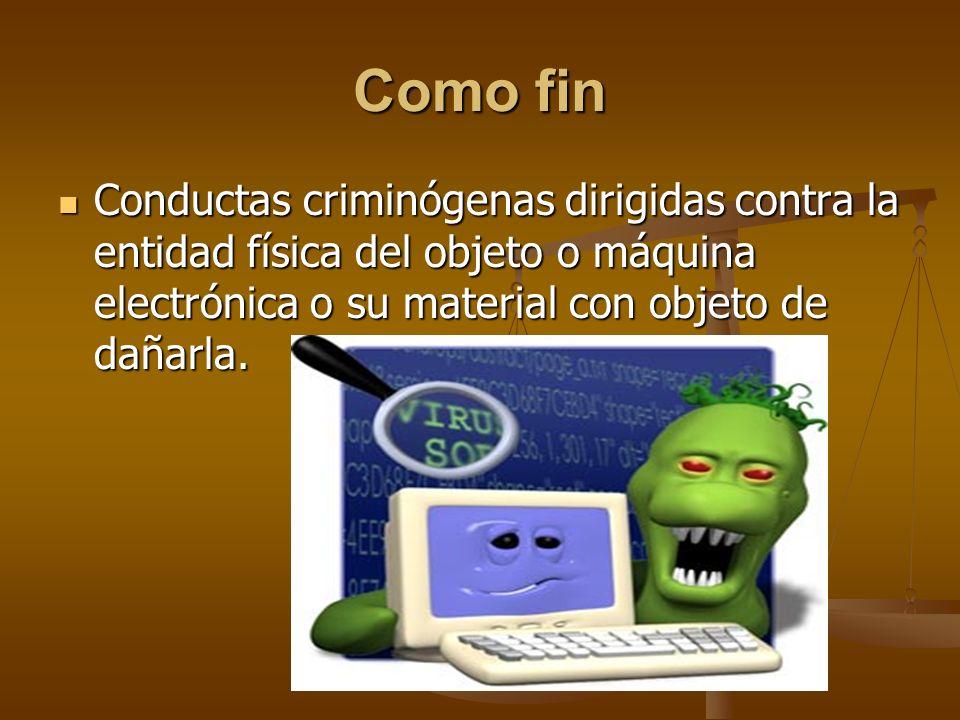 Como fin Conductas criminógenas dirigidas contra la entidad física del objeto o máquina electrónica o su material con objeto de dañarla.