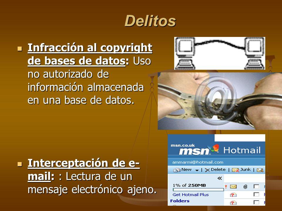 Delitos Infracción al copyright de bases de datos: Uso no autorizado de información almacenada en una base de datos.