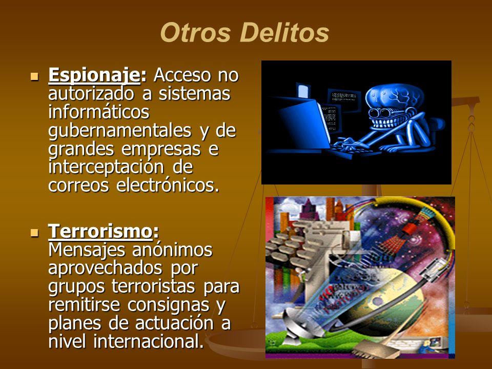 Otros Delitos Espionaje: Acceso no autorizado a sistemas informáticos gubernamentales y de grandes empresas e interceptación de correos electrónicos.
