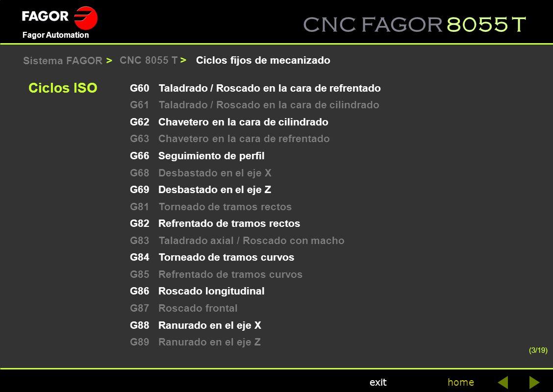 Ciclos ISO Sistema FAGOR > CNC 8055 T >