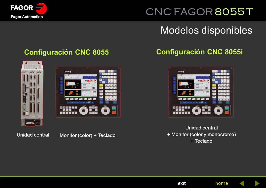 Modelos disponibles Configuración CNC 8055 Configuración CNC 8055i
