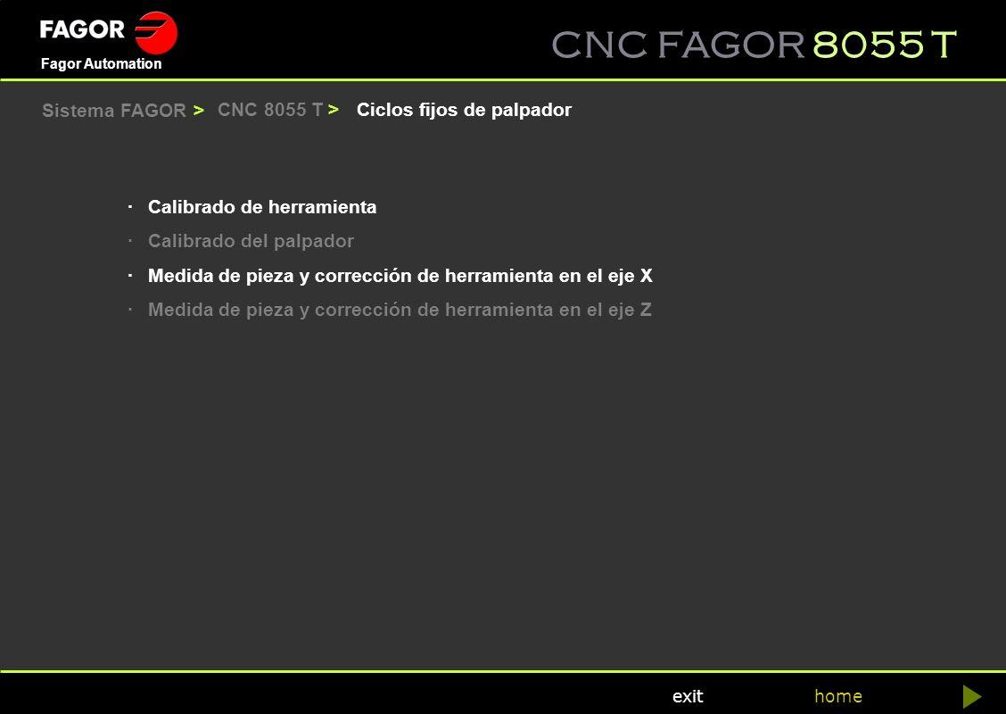Sistema FAGOR > CNC 8055 T > Ciclos fijos de palpador. · Calibrado de herramienta. · Calibrado del palpador.