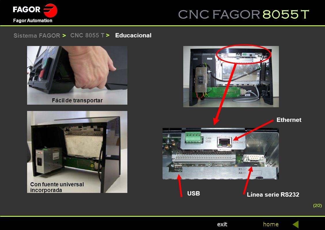Sistema FAGOR > CNC 8055 T > Educacional Ethernet USB