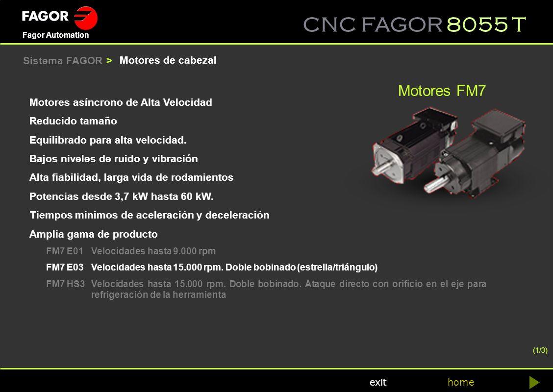 Motores FM7 Sistema FAGOR > Motores de cabezal