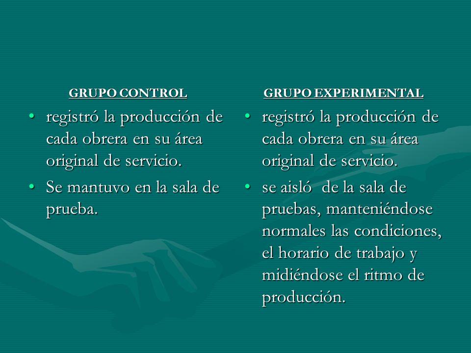 registró la producción de cada obrera en su área original de servicio.