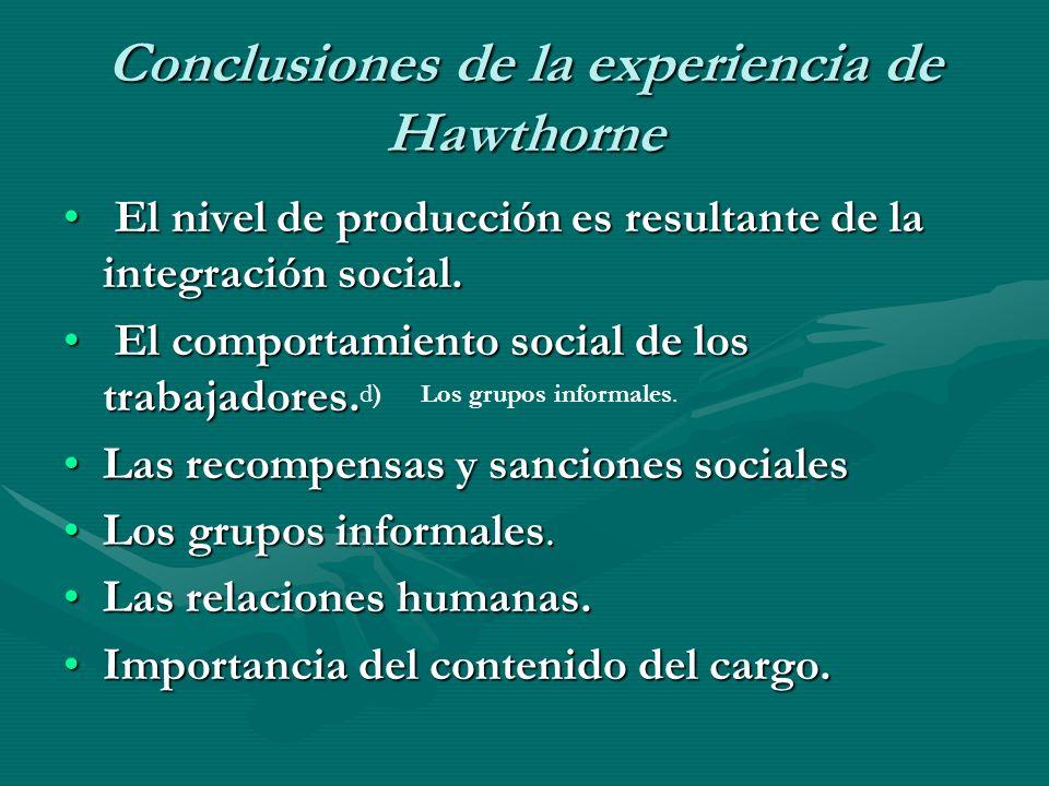 Conclusiones de la experiencia de Hawthorne
