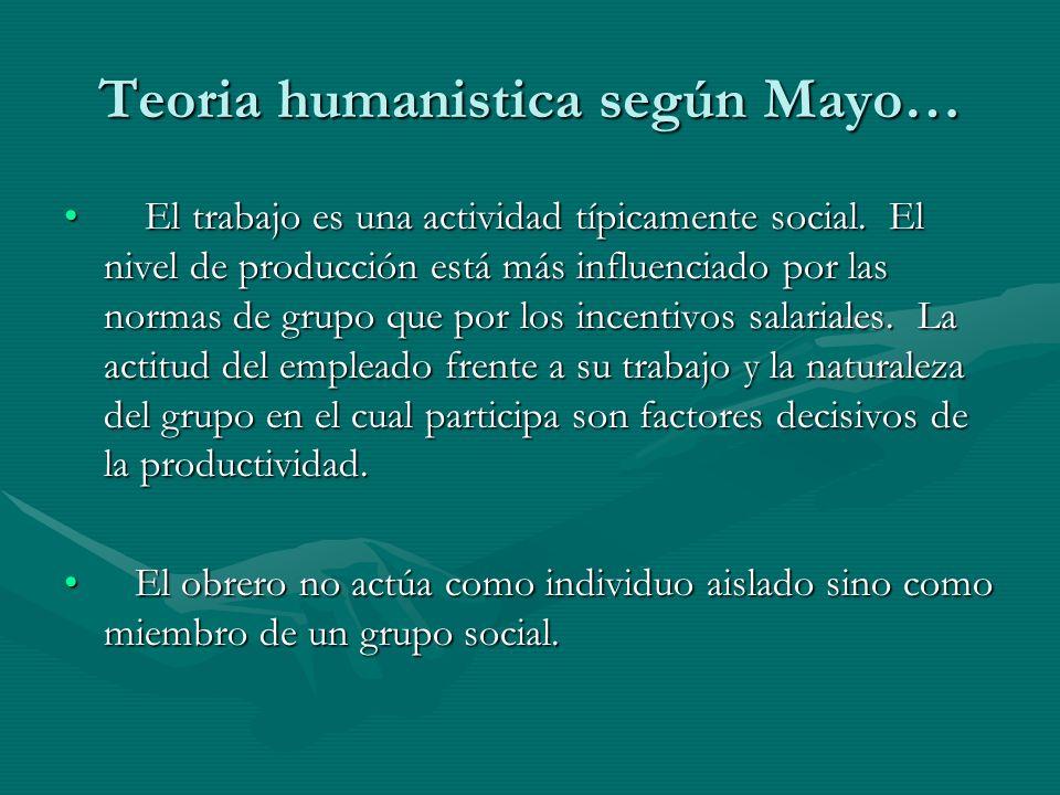 Teoria humanistica según Mayo…