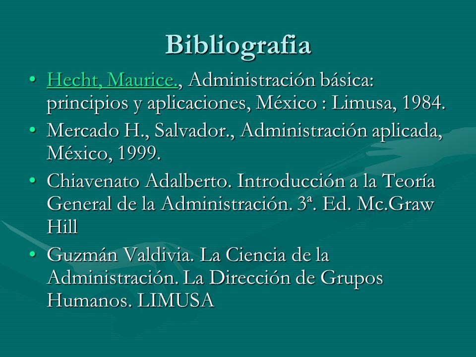 Bibliografia Hecht, Maurice., Administración básica: principios y aplicaciones, México : Limusa, 1984.