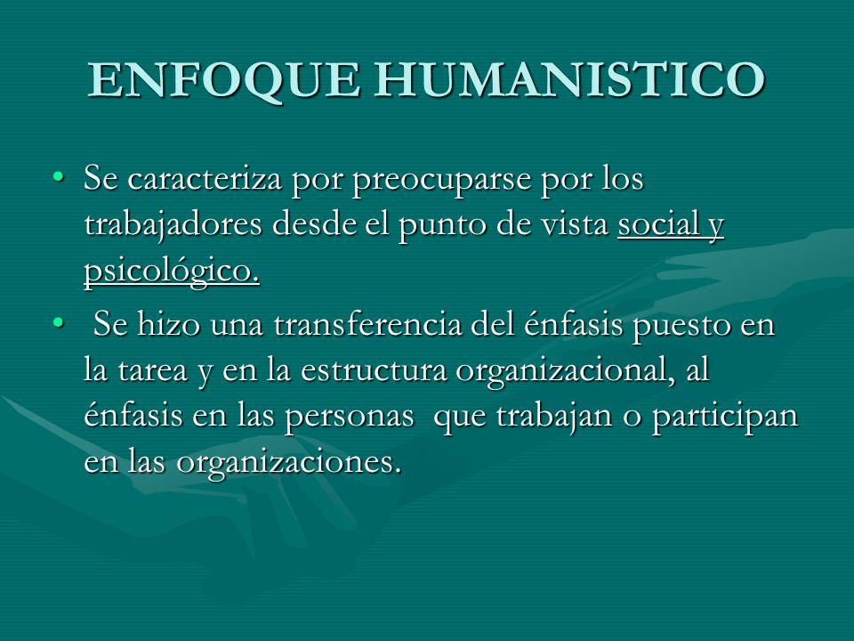 ENFOQUE HUMANISTICO Se caracteriza por preocuparse por los trabajadores desde el punto de vista social y psicológico.