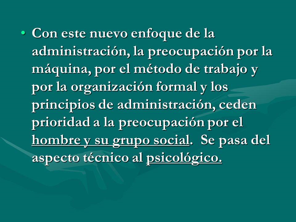 Con este nuevo enfoque de la administración, la preocupación por la máquina, por el método de trabajo y por la organización formal y los principios de administración, ceden prioridad a la preocupación por el hombre y su grupo social.