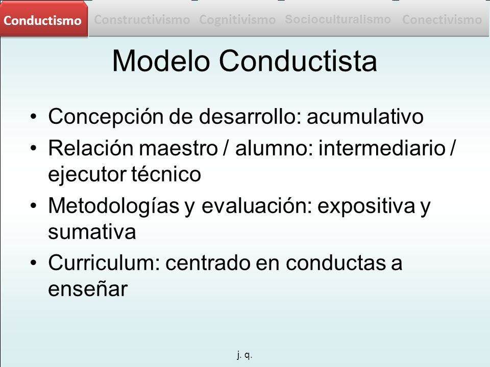 Modelo Conductista Concepción de desarrollo: acumulativo