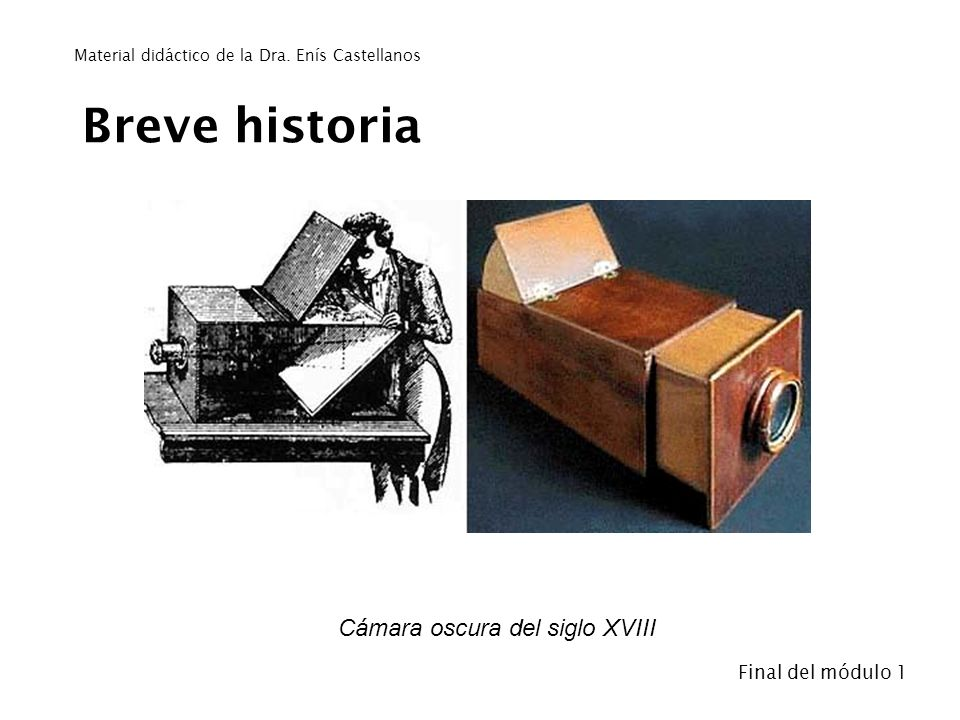 Breve historia Cámara oscura del siglo XVIII- Final del módulo 1