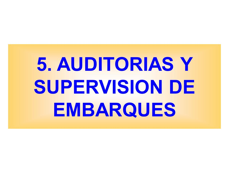 5. AUDITORIAS Y SUPERVISION DE EMBARQUES