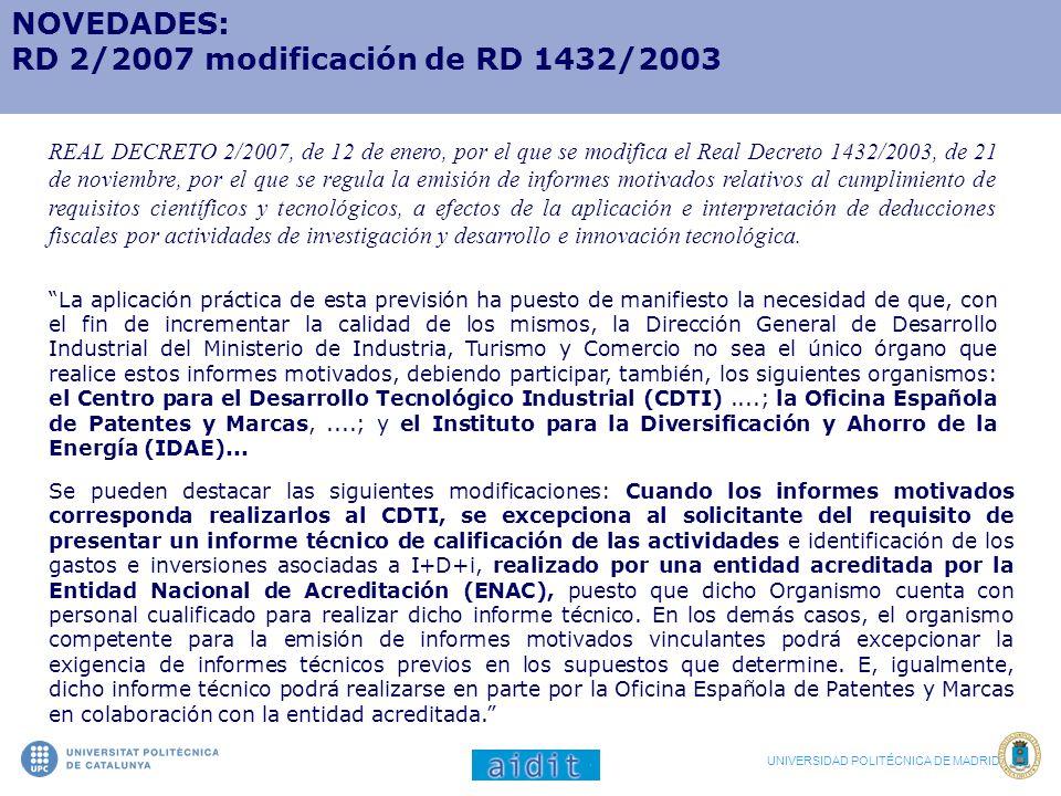RD 2/2007 modificación de RD 1432/2003