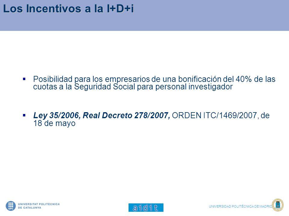 Los Incentivos a la I+D+i