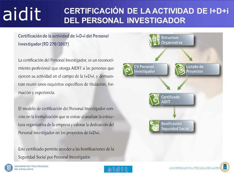aidit CERTIFICACIÓN DE LA ACTIVIDAD DE I+D+i DEL PERSONAL INVESTIGADOR