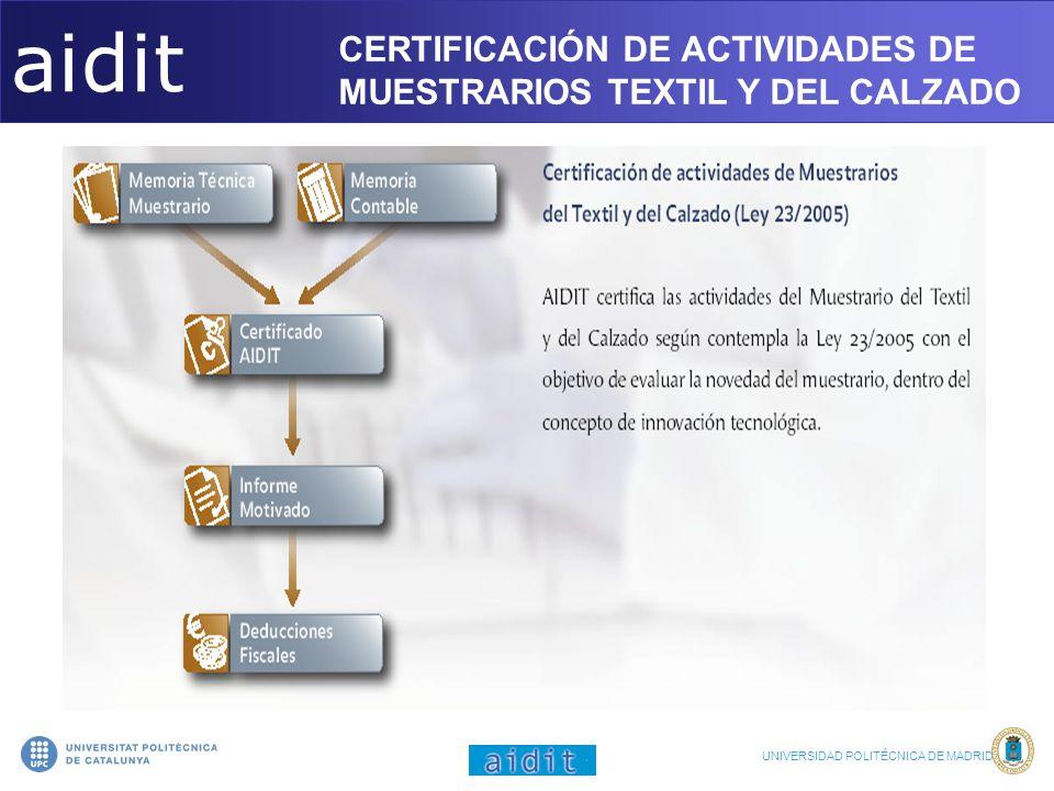 aidit CERTIFICACIÓN DE ACTIVIDADES DE MUESTRARIOS TEXTIL Y DEL CALZADO