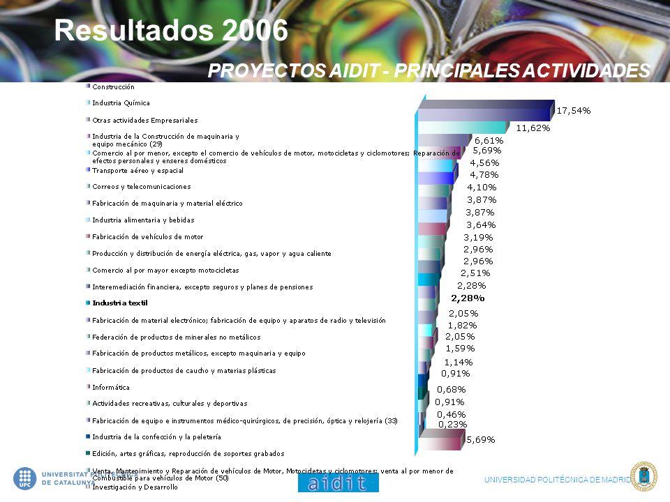 Resultados 2006 PROYECTOS AIDIT - PRINCIPALES ACTIVIDADES