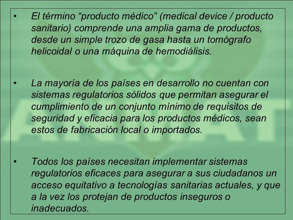 El término producto médico (medical device / producto sanitario) comprende una amplia gama de productos, desde un simple trozo de gasa hasta un tomógrafo helicoidal o una máquina de hemodiálisis.