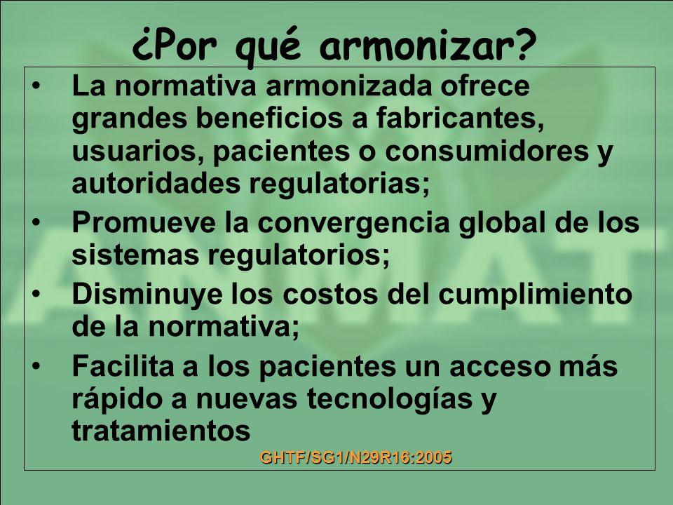 ¿Por qué armonizar La normativa armonizada ofrece grandes beneficios a fabricantes, usuarios, pacientes o consumidores y autoridades regulatorias;