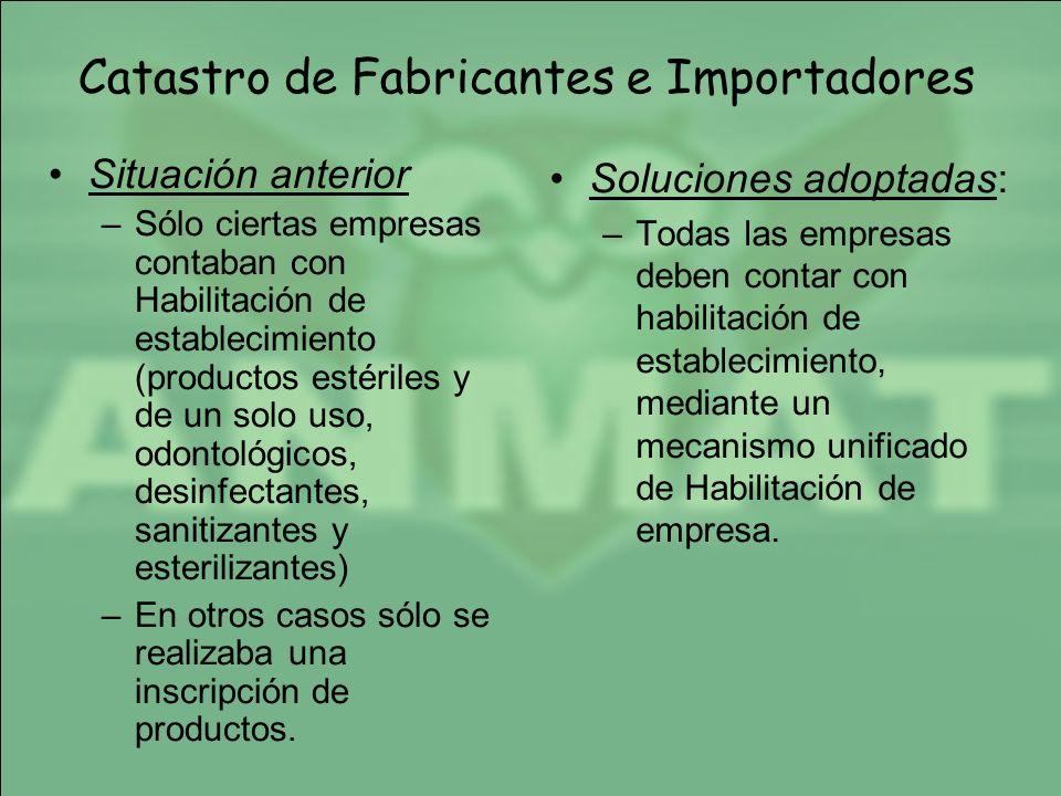 Catastro de Fabricantes e Importadores