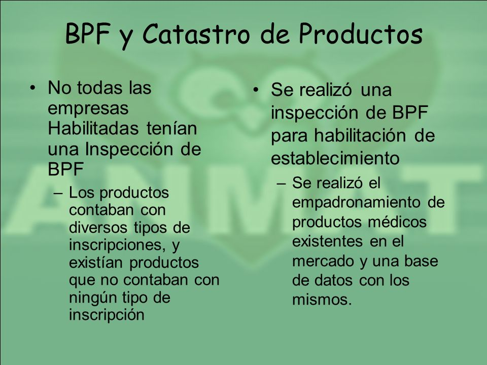 BPF y Catastro de Productos