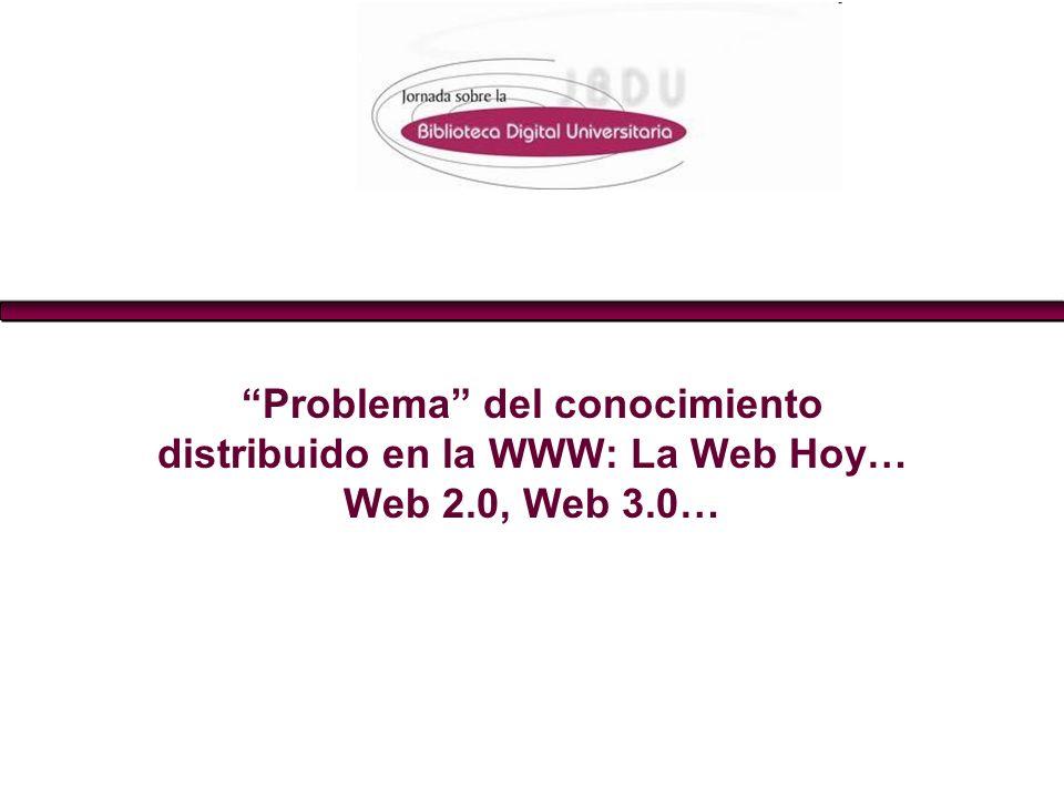 Problema del conocimiento distribuido en la WWW: La Web Hoy… Web 2