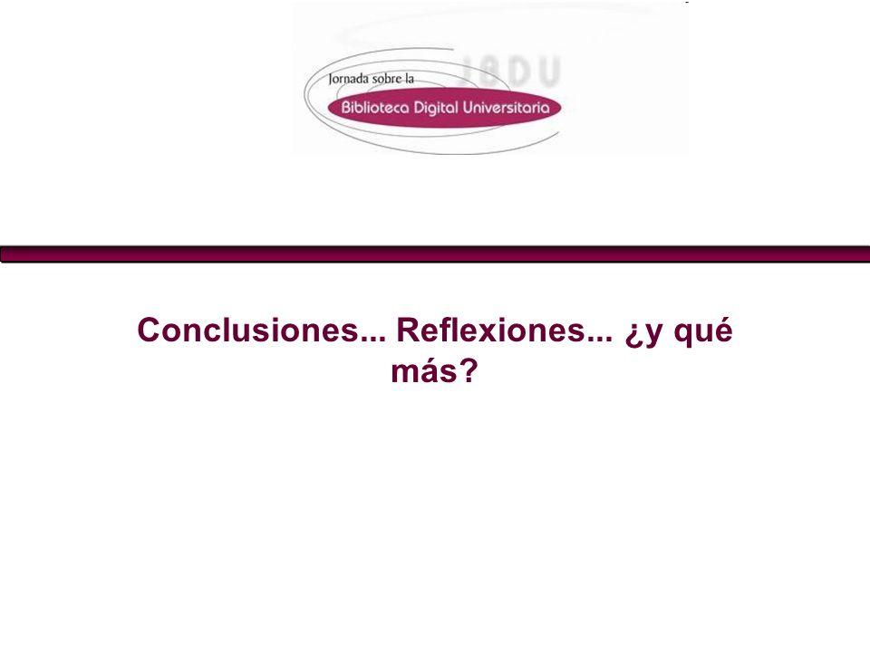 Conclusiones... Reflexiones... ¿y qué más