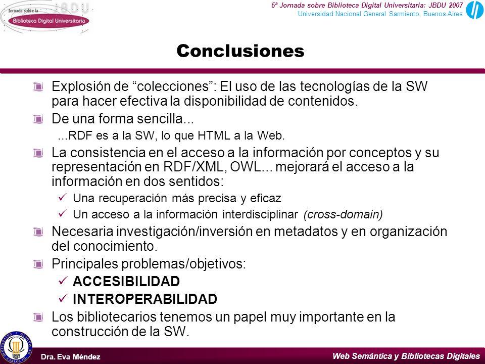 Conclusiones Explosión de colecciones : El uso de las tecnologías de la SW para hacer efectiva la disponibilidad de contenidos.