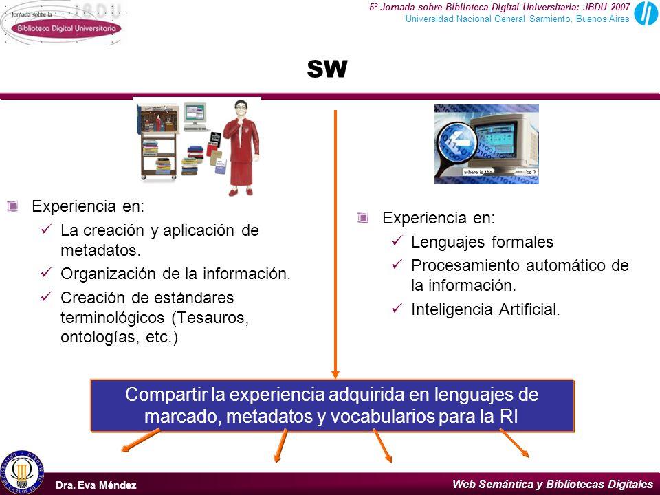 SW Experiencia en: La creación y aplicación de metadatos. Organización de la información.