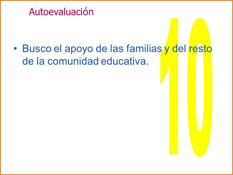 Autoevaluación 10 Busco el apoyo de las familias y del resto de la comunidad educativa.