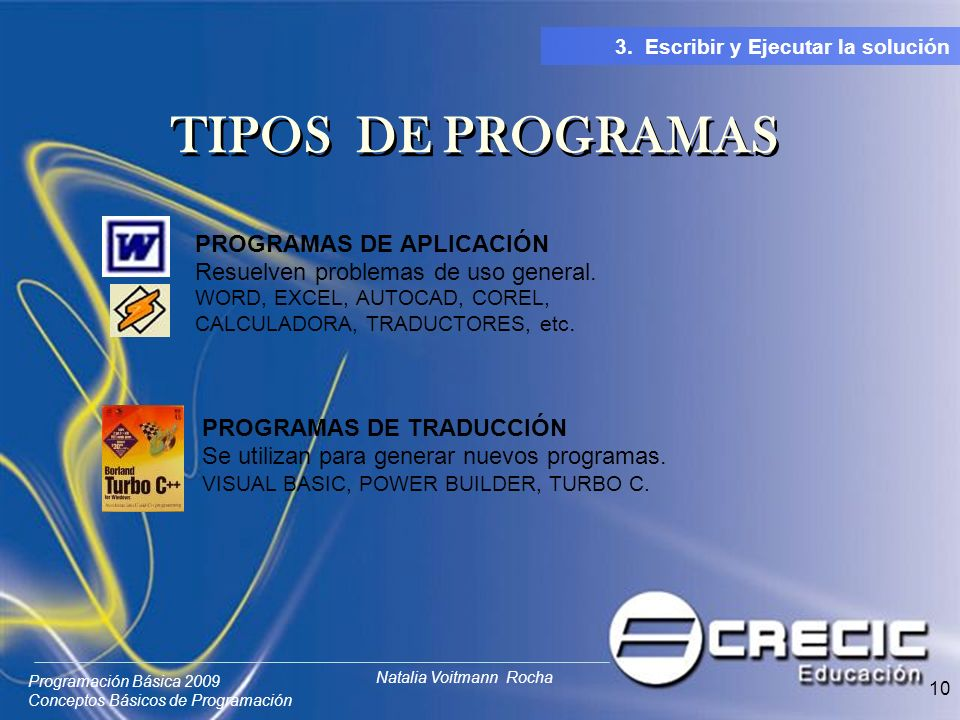 TIPOS DE PROGRAMAS PROGRAMAS DE APLICACIÓN