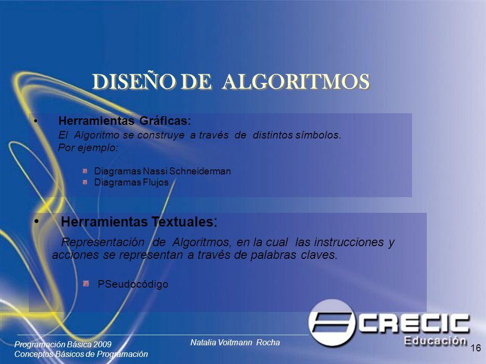 DISEÑO DE ALGORITMOS Herramientas Textuales: