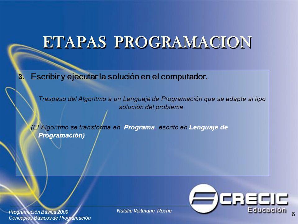ETAPAS PROGRAMACION 3. Escribir y ejecutar la solución en el computador.
