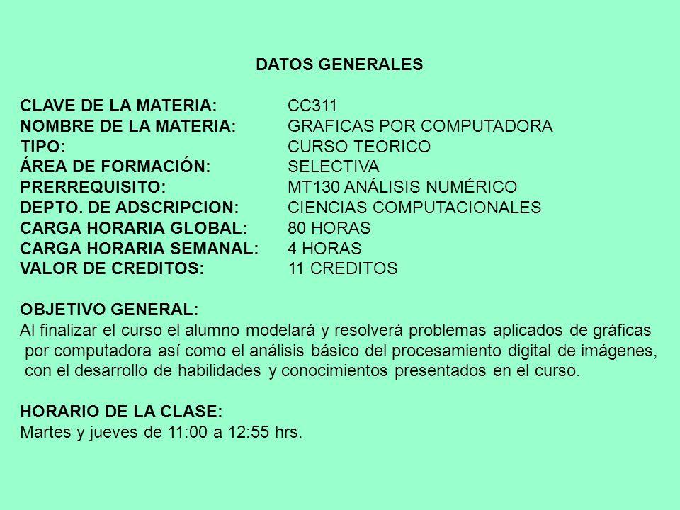 DATOS GENERALES CLAVE DE LA MATERIA: CC311. NOMBRE DE LA MATERIA: GRAFICAS POR COMPUTADORA. TIPO: CURSO TEORICO.