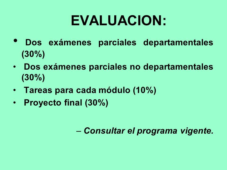 Dos exámenes parciales departamentales (30%)
