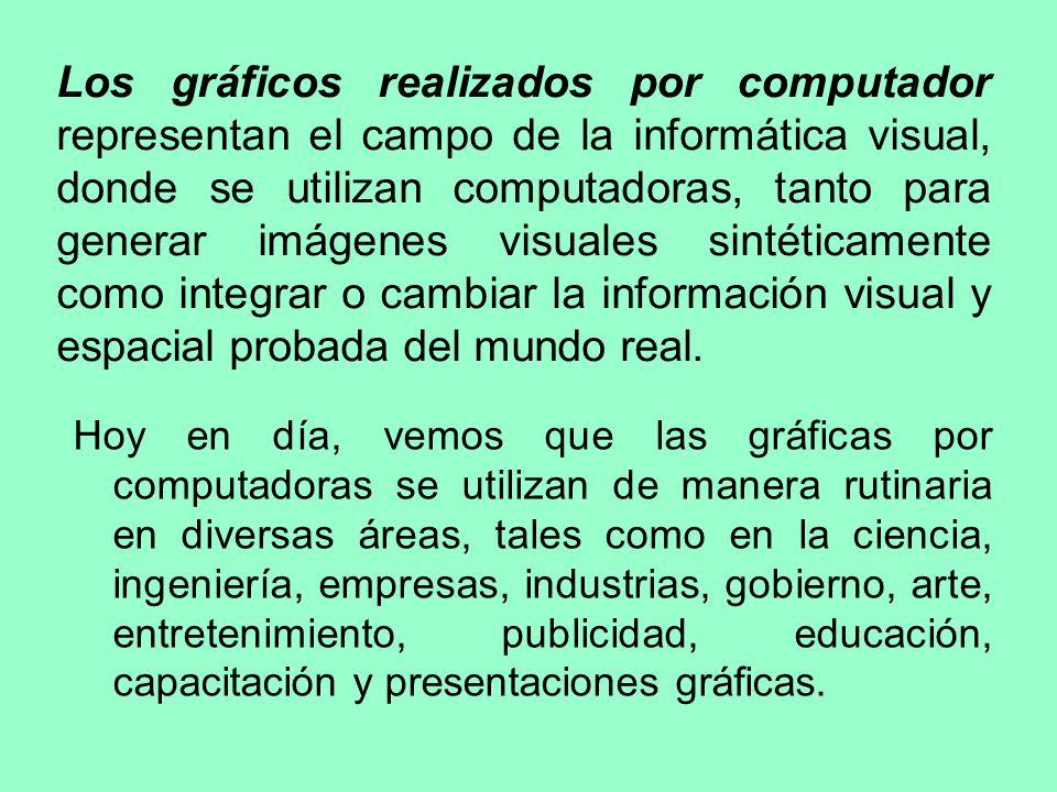 Los gráficos realizados por computador representan el campo de la informática visual, donde se utilizan computadoras, tanto para generar imágenes visuales sintéticamente como integrar o cambiar la información visual y espacial probada del mundo real.