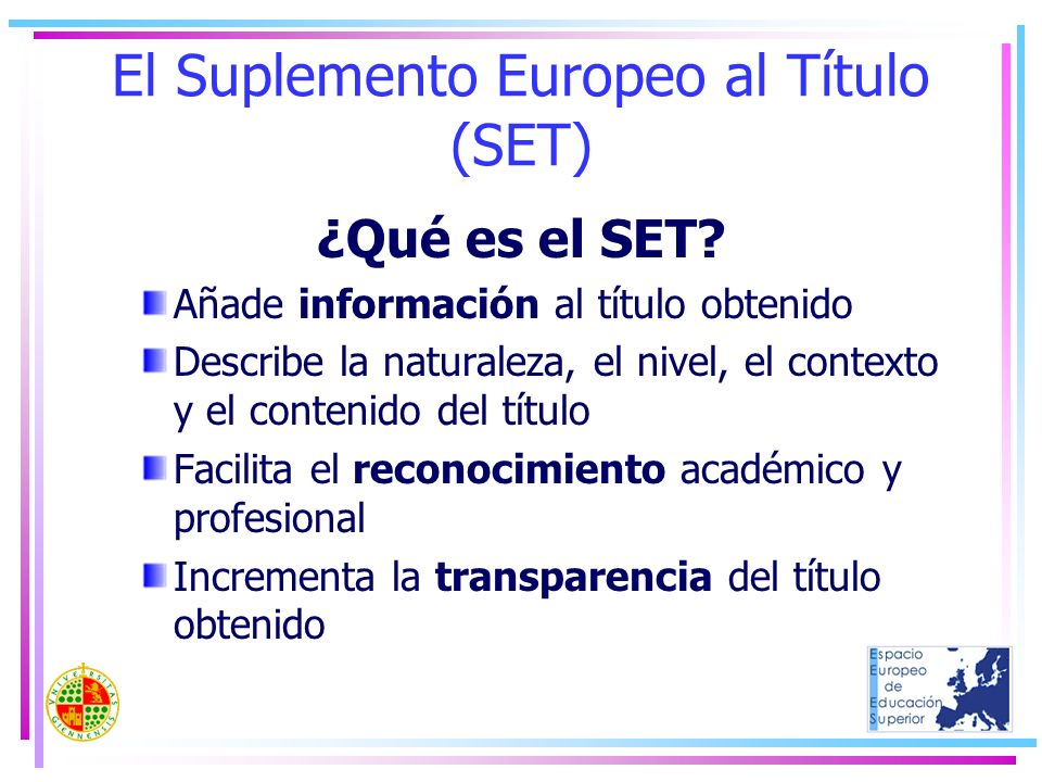 El Suplemento Europeo al Título (SET)
