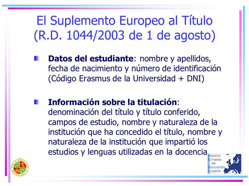El Suplemento Europeo al Título (R.D. 1044/2003 de 1 de agosto)